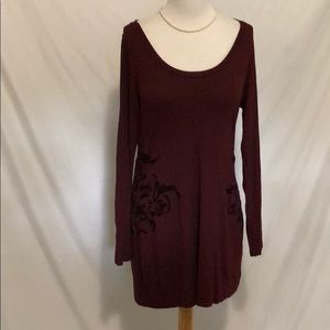 Soft Surroundings Burgundy Tunic w/ side detail M
